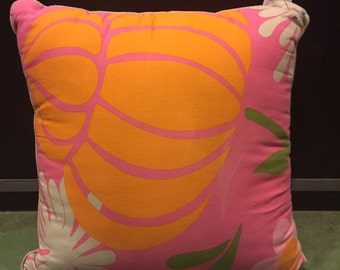 Vintage Pink and Orange Patterned Decorative Pillow