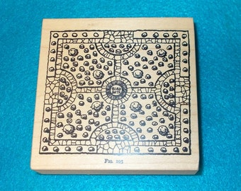 Bird bath rubber stamp plans wood mounted Stampa Rosa tin can mail I 59-228 art journaling junk journal supply stamping rocks baths retired