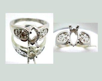 8x4mm - 12x6 mm Marquise Filigree Pre-Notched Solid Sterling Silver Ring Setting Size 7