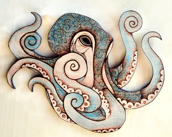 Octopus Wall Hanging, Pyrography wall hanging, octopus decor, kraken art, Wood seahorse, sea art, marine decor, ocean art, octopus Wall art