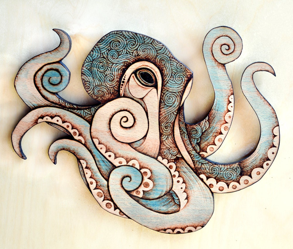Octopus wall hanging pyrography wall hanging octopus decor