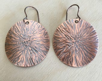 Copper earrings - Large earrings - Sunburst - Handmade - metal Women's earrings - drop dangle earrings
