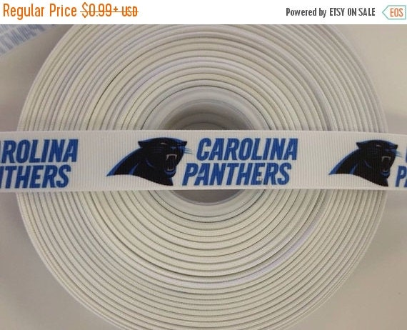 "SUPER SALE CAROLINA Panthers Nfl 7/8"" 22mm Grosgrain Hair Bow Craft Ribbon 782038"