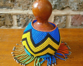 African Gourd Art Shekere - Gourd Rattle Covered in Bead Art sleeve - Handmade African Instrument - Calabash