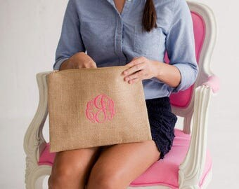 Monogrammed Purse, Burlap Clutch Purse, Pouch