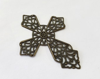 Antique Brass, Bronze, Filigree, Cross, Steampunk, Pendant, Stamping, Blank, Jewelry, Beading, Supply, Supplies