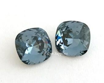 4470 DENIM BLUE 12mm Swarovski Crystal Cushion Cut Fancy Stone, Dark Blue