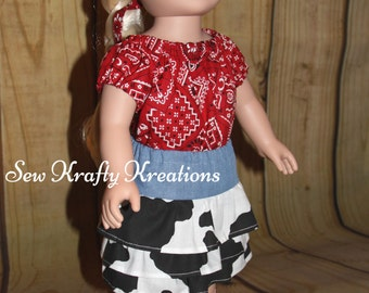 "Red Bandana Top and Denim and Cow Print Skirt for 18"" doll like American Girl"