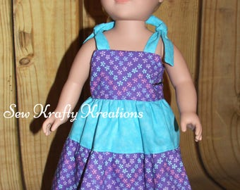 """Doll Dress - Purple with Flowers and Teal - for 18"""" doll like American Girl"""