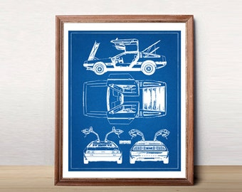 """DeLorean Blueprint, Blueprint Art, DMC DeLorean, Instant Download, Blueprints, Back to the Future Car, DeLorean, Car Art, 8x10, 11x14"""""""