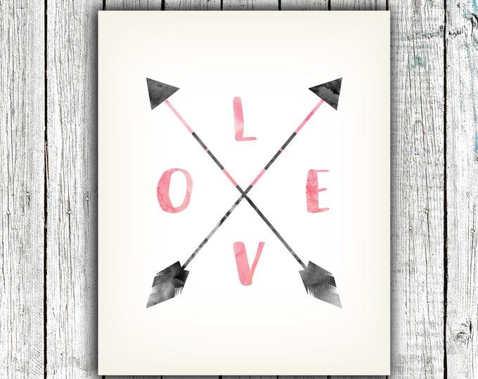Nursery Art Printable, Love, Baby Girl, Arrows, Pink, Gray, Digital Download Size 8x10 #621
