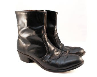 Men's 11 Black Leather Boots - Black 90s Boots - Black Zip Boots Black Motorcycle Boots Black Cowboy Boots Mens Ankle Boots 11