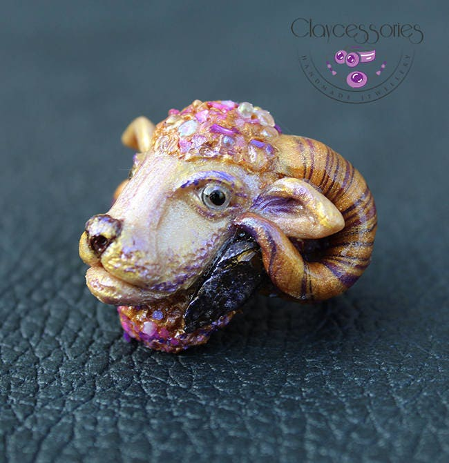 Sheep ring / Lamb ring / Aries ring / Animal ring / Zodiac ring / Ram ring / Astrology ring / Adjustable ring /Art ring/Polymer clay ring