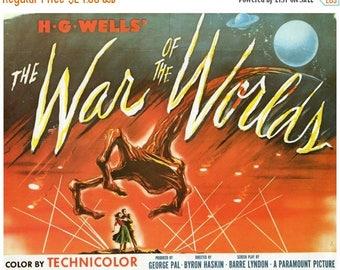 "50% Off Estate Sale Vintage Horror Science Fiction Movie Poster Print, 1952, The War of the Worlds, PMSF 11"" x 14"""