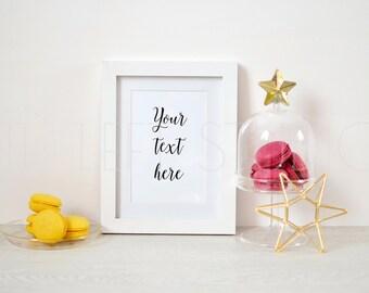 Christmas frame mockup, styled stock photography, christmas mockup, white frame, bakery mockup, ref. 16004