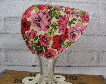 Baby Easter Bonnet, Vintage Floral Bonnet, Reversible Bonnet, Linen Baby Bonnet, Baby Hat, Pink Floral Bonnet, Easter Hat, Infant Bonnet