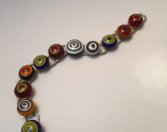 Circles fused glass braclet