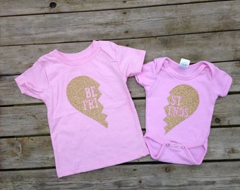 Best friend shirts, best friend onesies, best friend shirts, best friend shirt sets, heart shirts, shirts for best friends, new baby outfits