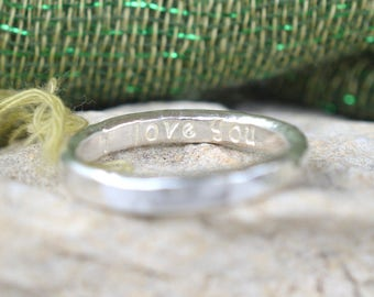 Fine Silver Hammered and Stamped Ring with hidden 'I love you' on inside- One Ring