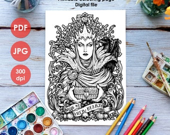 evil queen coloring page printable colouring page adults and children art nouveau lineart