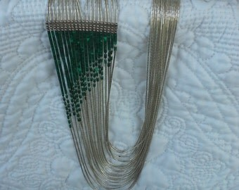 Vintage handmade liquid silver, heishi, malachite 20 strands necklace