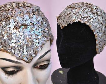 Vintage 1920s Deco Flapper Sequin Skull Cap • Evil Queen • Theda Bara Vamp