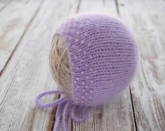 Newborn knit Angora Bonnet. Angora Bonnet. Photo prop Hat. Newborn Bonnet.