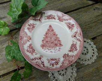 "Set of 4 Vintage Johnson Brothers 8"" Red Christmas Old Britain Castles Dessert Salad Plates"