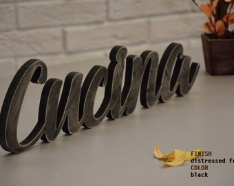 DISTRESSED FRONT Rustic CUCINA wooden sign- Cucina italiana
