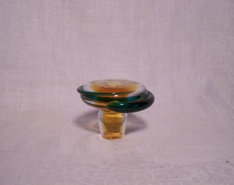 Amber and Green Blown Glass Stopper