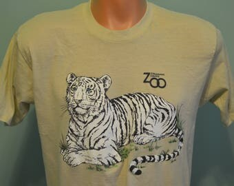 80s T-Shirt Milwaukee County Zoo Milwaukee Wisconsin White Tiger Large Cat XL Tee
