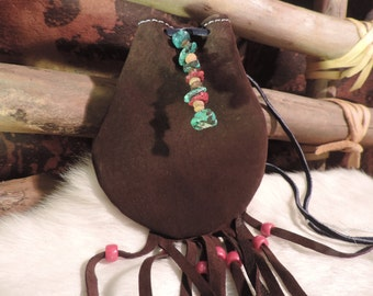 Handmade medicine bag with Turquoise and coral