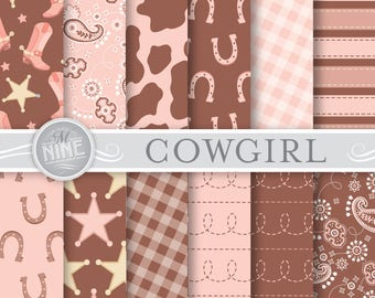 Cowgirl Digital Paper: VINTAGE COWGIRL Printable Pattern Print, Cowgirl Download, Cowgirl Patterns Cowgirl Scrapbook