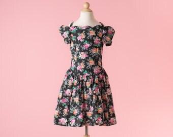 Vintage Black Floral Off Shoulder Tea Party Dress (Girls Size 10)
