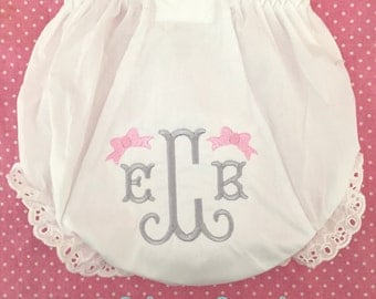 Monogrammed Bloomers Bow Monogram,monogrammed diaper cover, personalized baby gift, Personalized Diaper Cover