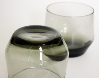 Pair of 1970s Smoked Glass Tumblers