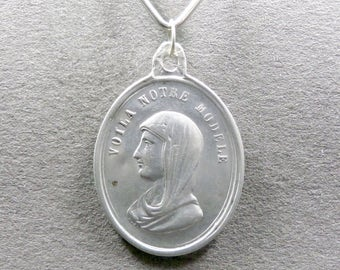French, Antique Religious Sterling Pendant. Saint Virgin Mary and Jesus, Sacred Heart. Silver Medal.