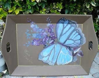 """Vintage houten dienblad met de hand in olieverf geschilderde vlinder afbeelding en tekst erop: """"Have a nice day"""""""