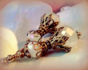 Opaque White Earrings, Milky Crystal Earrings, Handmade Earrings,  Frosted Opaque Earrings, White Frosted Dangles, Moonstone Crystal Earring