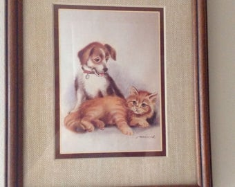 Dog and Cat vintage picture...beautifully framed and matted....nice wooden frame