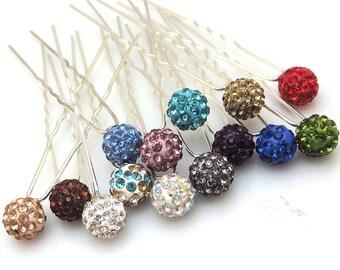 Wholesale Pack of 6 Disco Ball Crystal Rhinestones Hair Pins Free Shipping