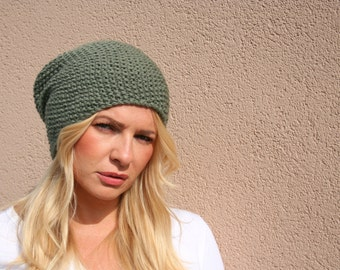 Green Slouchy Womens Knit Hats Knit Winter Hat Black Beanie Hat Knit Slouchy Beanie Hat Green Knit Hat Style Street Wear