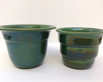 1930s Adco planters set of two dark green glossy glaze 10 cm