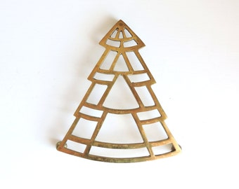 Vintage Brass Trivet, Christmas Tree Trivet, Geometric Brass Hot Plate, Christmas Hot Pad, Christmas Tree Wall Decor, Kitchen Decorations