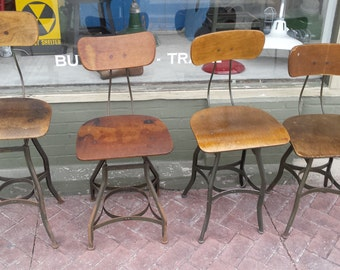 Vintage Industrial Toledo Reproduction Drafting Stool Chair