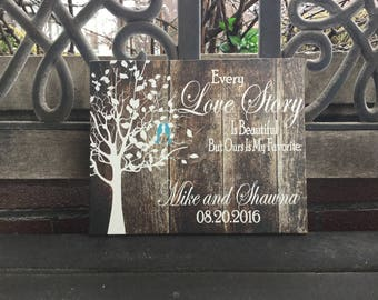 Every LOVE Story Is Beautiful But Ours Is My Favorite, Lovebirds in Tree, Personalized, GIFT Custom Canvas, Anniversary, WEDDING Date