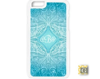 Monogrammed Galaxy S8 Case, S8 Plus Case, Galaxy S7 Case, Galaxy S7 Edge Case, Galaxy Note 5 Case, Galaxy S6 Case - Blue Lotus