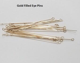20 - Gold Filled #24, 2 Inch Eye Pin, USA