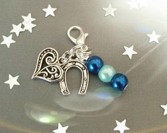 Something blue clip on blue bead, heart, horseshoe charms
