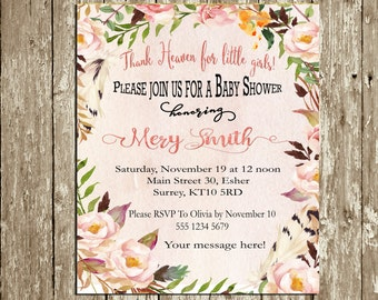Rustic Baby Shower Invitation Girl Floral Watercolor Baby Shower Invitation Shabby Chic Pink Blush Coral Country Digital Baby shower Invite